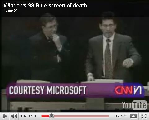Bill Gates - blue creen Win 98